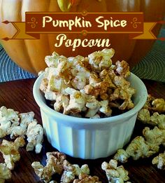 Pumpkin Spice Popcorn, this will be perfect for a fall party.  www.FabulesslyFrugal.com