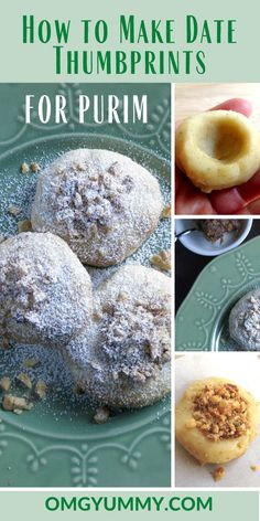 Date thumbprint cookies (koloocheh) are perfect for Tu B'shevat. They closely resemble other Middle Eastern baked goods -- ma'amul, hamantaschen and khak. Kosher Recipes, Low Carb Recipes, Whole Food Recipes, Cookie Recipes, Walnut Cookies, Buttery Cookies, Easy Hamantaschen Recipe, Purim Recipe, Hummus And Pita