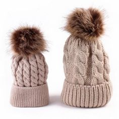 1 Pair Winter Knitted Hat Fashion Fur Ball Pompom Beanies Cap For Baby Kids & Mothers Women Girls Hat