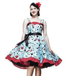 DIXIE PINUP GIRL BLUE Dress Vintage 50's pinup RETRO Rockabilly