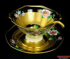 Noritake Japan Handpainted Condiment Bowl Under Plate Ladle Gold Black Pink Rose