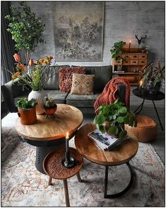 Room redo Green nature inspired dark Bohemian living room is part of Bohemian Living Room Green - I love the vintage pieces used in this interior look with the different rustic coffee tables and vintage rug Bohemian Living Rooms, Living Room Green, Living Room Interior, Natural Living Rooms, Living Room With Color, Colorful Living Rooms, Living Room Tables, Copper Decor Living Room, Colourful Home