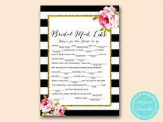 Mad Libs Bridal Shower Mad Libs Advice for by MagicalPrintable
