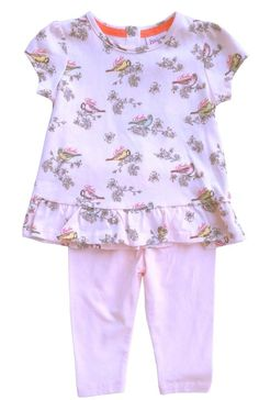3fc27645779e Ted Baker Baby Girls Outfit Floral Top Pink Leggings Bird DESIGNER 3-6  Months for sale online