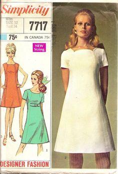 Patron de couture vintage des années 60 robe Fashion Design simplicité 7717  livraison gratuite pour 3
