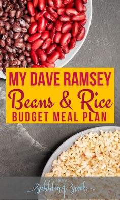 This is a great budget meal plan if you are on Dave Ramsey baby steps! Like Dave says, it's beans and rice, rice and beans for awhile, lol! This saves so much money on groceries so we can pay off debt!