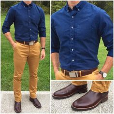 """Tuesday Style Today I went with a simple navy and tan combination. Technically, these chinos are """"mustard"""" color and I think it's great color to mix things up from the typical khaki. They look great with these awesome brown chelsea boots❗️ P.S. If you love oxford shirts like I do, you have to try out one from Alex Mill. They're otherworldly good! Do you like this outfit❓ Boots: @thursdayboots Brown Dukes Chinos: @jachsny Oxford shirt: @alexmillny Watch: @rado ________________..."""
