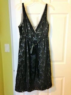 New York & Company Black Lace Allover Sleeveless Empire Waist Dress 12  #NewYorkCompany #EmpireWaist #Cocktail