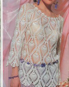 pineabpple crochet tunic | to wear / crochet pineapple fashion for ladies: crochet lace tunic ...