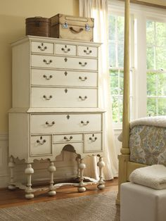 Williamsburg highboy. Does it come with a housekeeper to dust all those crannies at the bottom?