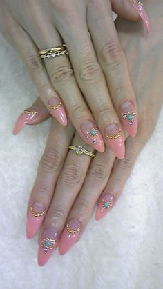 Almond shaped nails, pink tips negative moons & beaded line