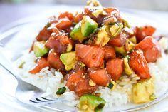 Zalm met avocado en rijst