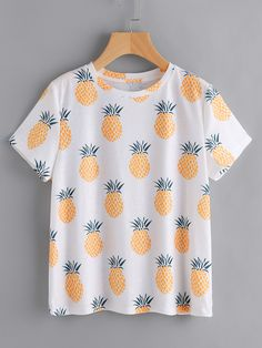 SheIn offers Allover Pineapple Print Slub Tee & more to fit your fashionable needs. Girls Fashion Clothes, Teen Fashion, Fashion Outfits, Cute Summer Outfits, Cute Casual Outfits, Teenage Outfits, Outfits For Teens, Pineapple Clothes, Inspiration Mode