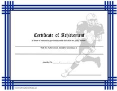 Free printable football certificate templates football certificate of achievement football printable certificate yadclub Gallery