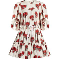 Alexander McQueen Poppy-print tiered midi dress ($2,884) ❤ liked on Polyvore featuring dresses, white multi, long-sleeve midi dresses, white dress, white sleeve dress, blouson dress and poppy dress