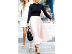 I want the gorgeous skirt. So feminine and yummy.  How to Wear a Crop Top Without Revealing Any Skin   Fashion   PureWow National