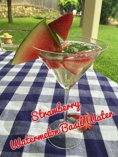 Strawberry-Watermelon Basil Water   www.LoseTheFatWithJax.com #strawberry #watermelon #basil #water #drinks #infusedwater #strawberrywatermelonbasilwater
