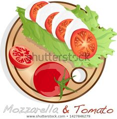 Vector illustration of mozzarella, cherry tomatoes - ingredients for caprese salad on plate. Tomato Mozzarella, Caprese Salad, Cherry Tomatoes, Illustration, Plates, Image, Licence Plates, Dishes, Illustrations