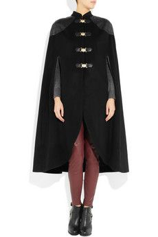 TEMPERLEY LONDON  Avalon leather-trimmed wool-blend cape