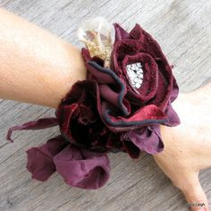 Tattered Rose Leather Velvet Lace and Silk Cuff