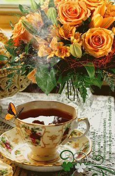 Good morning it's coffee time ~. Good Morning Gift, Good Morning Coffee, Happy Morning, Good Morning World, Coffee Gif, Coffee Love, Coffee Break, Beautiful Gif, Beautiful Flowers