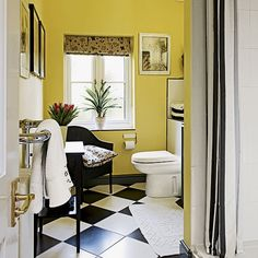 Yellow and monochrome bathroom | Decorating | housetohome.co.uk