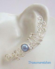 Weiteres - Hellblaue Ohrklemme, Ohrspange, ear wrap - ein Designerstück von Traeumereichen bei DaWanda