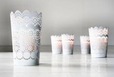 Vintage Style White Metal Candle Holder Vase Lace Cut Out Planter Metal Luminaries Pillar Doily Lanterns Shabby Chic Parisian Bridal Shower | Recycled Bride