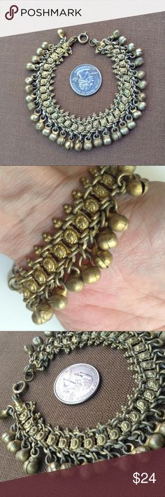 """Vintage Tribal Brass Jingle Bracelet 1970's, brass, chain link, bracelet with jingly bells as fringe. Ornate panels wired together with loop connectors. Flexible and comfortable. Origin likely India or MId East like Afghanistan. Could be an anklet for a girl. 7&1/2"""" long. 7/8"""" wide. Gold toned. I love the sound of the pleasant jingling. Perfect for your boho / festival outfit. Great vintage condition. Vintage Jewelry Bracelets"""