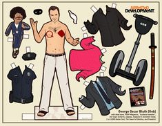 Paper doll of Gob Bluth, Arrested Development - coming out with line of 10 characters from my favorite comedy! By illustrator Kyle Hilton Gus Fring, Charlie Kelly, Leslie Knope, Jane Austen, Dolls Film, Paper Dolls Printable, Parks N Rec, Just For Fun, Favorite Tv Shows