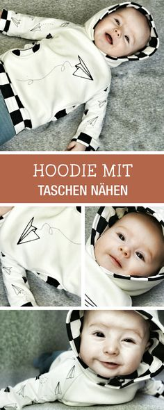 Nähanleitung für Babys: Kuscheliger Hoodie mit Taschen / diy sewing tutorial for a comfy baby hoodie via DaWanda.com
