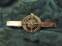 Mens Nautical Compass Tie Clip Tie Bar Accessory by AGothShop,