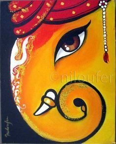 Ganesha Acrylics on Canvas Niloufer Wadia Ganesha Drawing, Lord Ganesha Paintings, Ganesha Art, Krishna Art, Mural Painting, Mural Art, Painting Canvas, Painting Tips, Street Art Graffiti