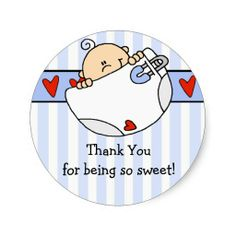 Peeking Baby Boy Baby Shower Sticker #babyshower