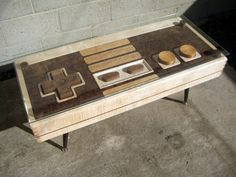 Functional Nintendo remote coffee table.