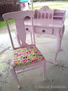 kids desk make-over - have a chair but need a desk...love the old secretary look for little girls