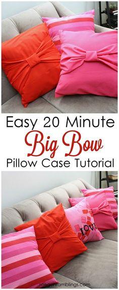 Easy sewing tutorial. 20 Minute Big Bow pillow cases - Rae Gun Ramblings