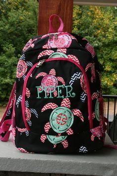 Girls Monogrammed Sea Turtle Backpack Pink Trim Personalized Bookbag By