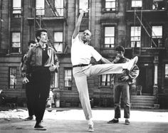 Jerome Robbins rehearsing with George Chakiris (Bernardo) for the film version of West Side Story.