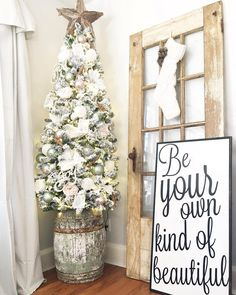 Who's ready for the weekend?? I'm so ready! Sharing our youngest daughters tree from @kingofchristmas  when u saw this barrel at a local flea market @somewhereintime.rogers_ar I knew it needed a new home! Her Flocked tree is perfect in it! Goodnight Friends! . . . . #christmastree #crazy4christmasdecor #christmas #bhghome #bhgcelebrate #christmaspastorpresent #mycountryhome #christmasdecor