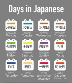 Days in Japanese #learnjapanese