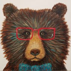 Hipster Grizzly Bear with bow tie & red glasses #AcrylicPainting tutorial on #YouTube by #angelafineart Easy Beginner DIY canvas art How to paint a bear face