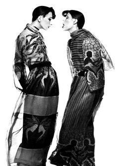 Wallis Franken & Anjelica Huston by Guy Bourdin- September 1971 - Paris Vogue