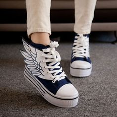 Angle's Wing High Top Canvas Sneaker Thick Sole Platform Shoes
