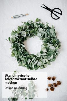 Skandinavischer Adventskranz selber machen Haga la corona de Adviento escandinava usted mismo: simple y más deko Natural Christmas, Christmas Mood, Noel Christmas, Christmas Crafts For Kids, Christmas Decorations, Christmas Advent Wreath, Scandinavian Style, Scandinavian Christmas, Diy Crafts To Do