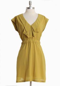 mustard ruffle dress via ruche (85.99)