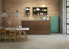 Kayman wood effect porcelain tiles from the Stone & Ceramic Warehouse. Looking great in the scandi, natural kitchen! Wood Effect Porcelain Tiles, Natural Kitchen, Kitchen Tiles, Kitchen Wood, Tile Design, Dining Area, Dining Room, Wall Tiles, Countertops