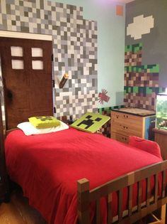 Minecraft bedroom carpet minecraft room door headboard, wall paint in gray, grass blocks more bedroom ideas Minecraft Houses For Girls, Minecraft Room, Mine Minecraft, Minecraft Ideas, Room Ideas Bedroom, Bedroom Themes, Bedroom Decor, Bedrooms, Game Room Decor