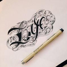 By raul alejandro lettering design, script lettering, lettering tattoo, cre Typography Sketch, Typography Love, Typography Letters, Graphic Design Typography, Lettering Design, Creative Lettering, Calligraphy Words, Script Lettering, Brush Lettering