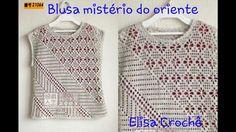 Versão destros:Blusa mistério do oriente em crochê (7° parte )# Elisa Cr...